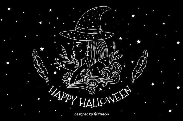 Main dessinée fond d'halloween avec nuit étoilée