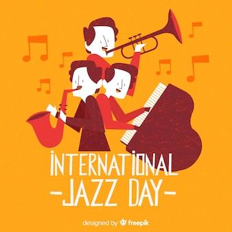 Main dessinée fond de journée internationale de jazz