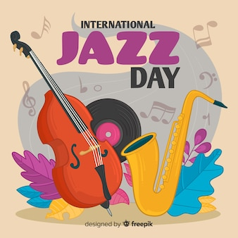 Main dessinée fond de journée internationale de jazz