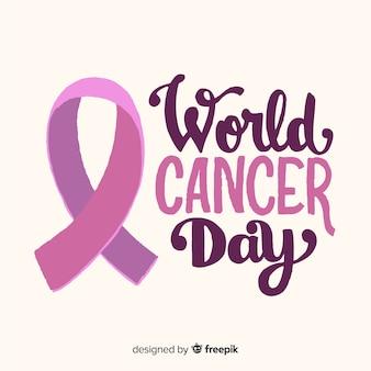 Main dessinée fond de journée mondiale du cancer