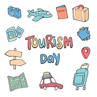 Main dessinée fond de la journée mondiale du tourisme