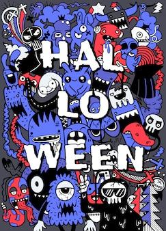 Main dessinée halloween, doodle, ensemble, idées