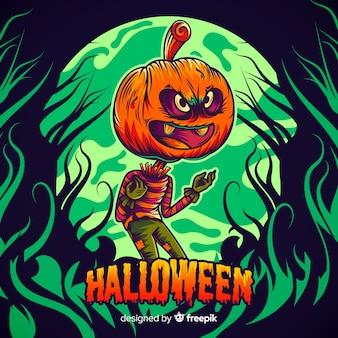 Main dessinée halloween jack-o-lanterne