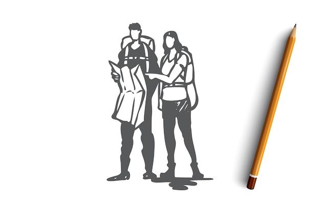 Main dessinée homme et femme voyageant ensemble croquis de concept