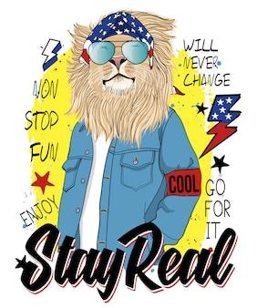 Main dessinée illustration cool lion, vector.