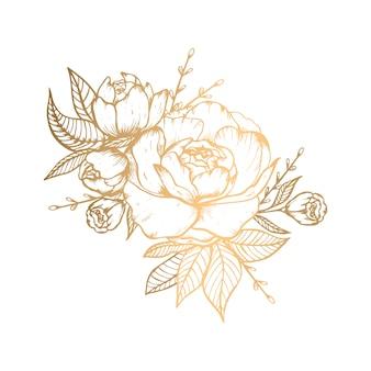 Main dessinée illustration florale dorée avec rose