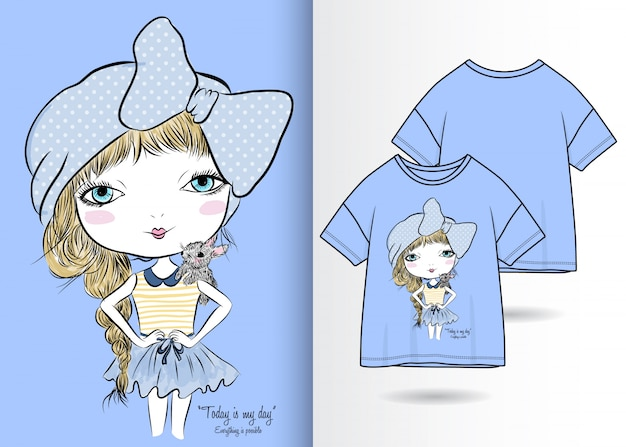 Main dessinée illustration jolie fille avec un design t-shirt