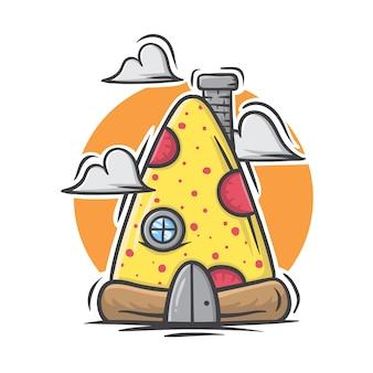 Main dessinée illustration de la maison de pizza sur fond blanc