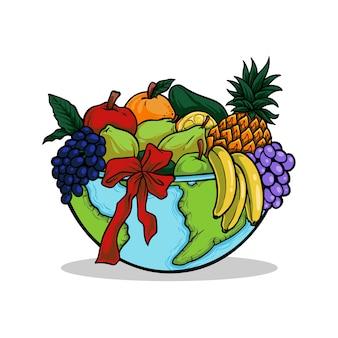 Main dessinée illustration pain journée mondiale de l'alimentation