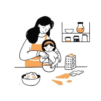 Main dessinée jeune femme et enfant cuisiner ensemble. dessin animé