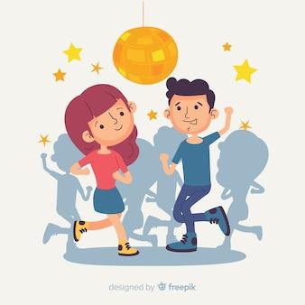 Main dessinée jeunes dansant illustration