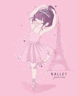 Main dessinée jolie fille danse de ballet avec scène de paris