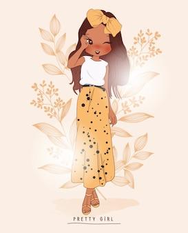 Main dessinée jolie fille avec des fleurs derrière