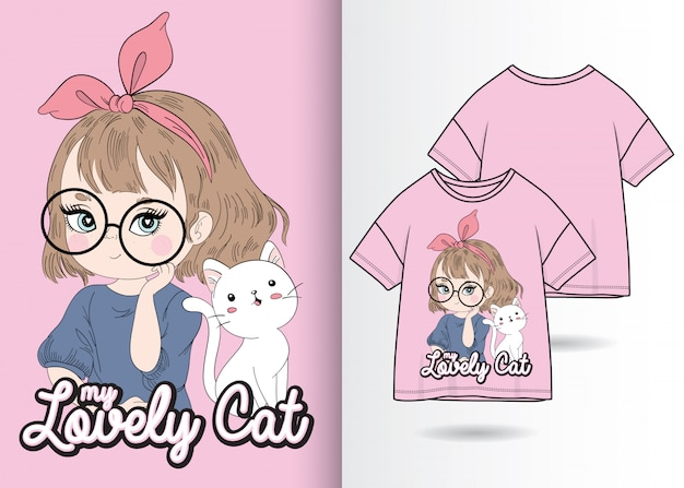 Main dessinée jolie fille avec illustration de chat avec la conception de t-shirt