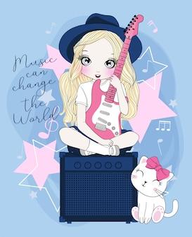 Main dessinée jolie fille jouant de la guitare