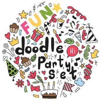 Main dessinée joyeux anniversaire ornements doodle party illustration vectorielle
