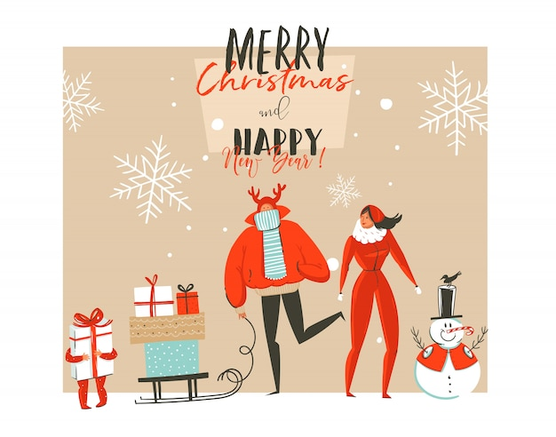 Main dessinée joyeux noël et bonne année time coon illustrations carte de voeux avec groupe de personnes en plein air famille, bonhomme de neige et typographie moderne sur fond blanc