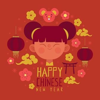 Main dessinée joyeux nouvel an chinois