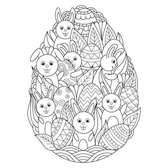 Main dessinée de lapin à l'intérieur de l'oeuf de pâques dans un style zentangle
