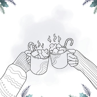 Main dessinée à la main buvant du chocolat chaud le jour de noël style d'art en ligne