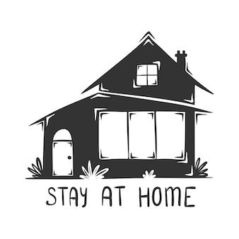 Main dessinée de maison avec lettrage stay at home, isolé sur fond blanc.