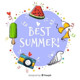 Main dessinée meilleur fond de l'été
