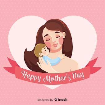 Main dessinée mère et bébé fond de fête des mères
