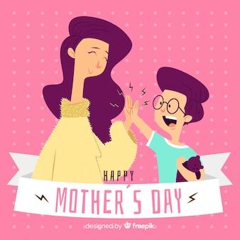 Main dessinée mère et fils fond de fête des mères