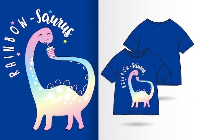 Main dessinée mignon dinosaure avec t-shirt