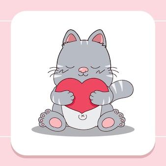 Main dessinée mignon gros chat étreint un grand coeur.