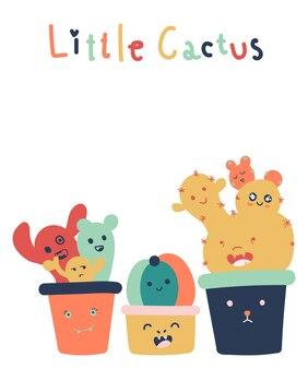 Main dessinée de mignon petit cactus isolé