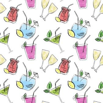 Main dessinée modèle sans couture avec boissons et citrons