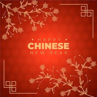 Main dessinée nouvel an chinois avec dégradé
