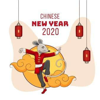 Main dessinée nouvel an chinois