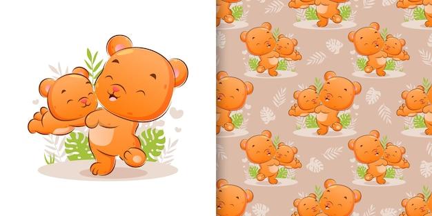La main dessinée d'ours heureux joue avec le petit ours dans le jardin de l'illustration