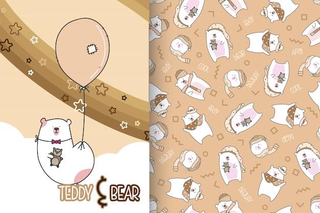 Main dessinée ours mignon avec jeu de motifs