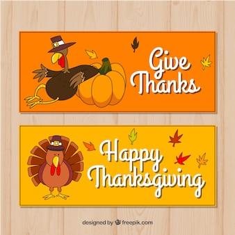 Main dessinée pack de bannières de thanksgiving