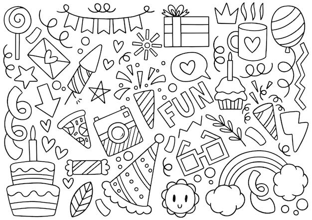 Main dessinée partie doodle joyeux anniversaire ornements illustration