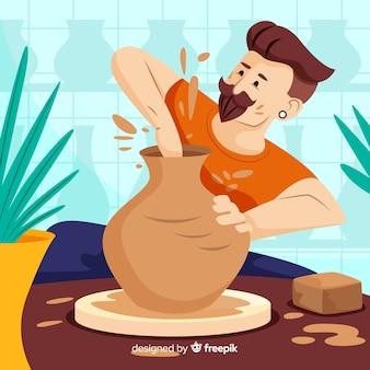 Main dessinée personne faisant la poterie