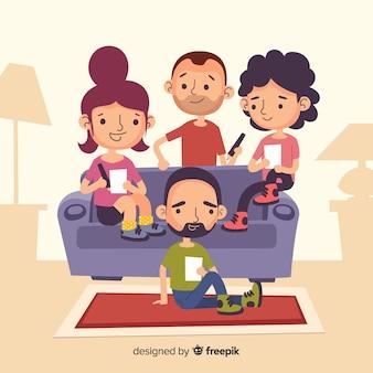 Main dessinée personnes à la maison illustration