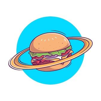 Main dessinée planète burger icône illustration vectorielle