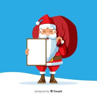 Main dessinée santa souriant tenant une pancarte blanche