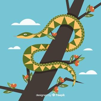 Main dessinée serpent sur un fond de branche