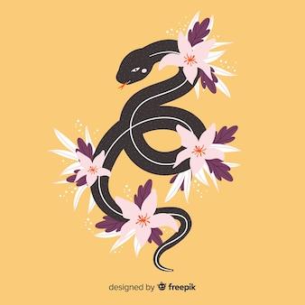 Main dessinée serpent avec fond de fleurs tropicales