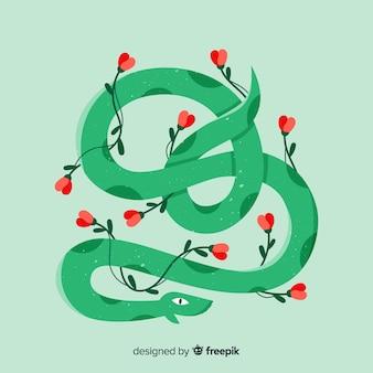 Main dessinée serpent avec fond de fleurs