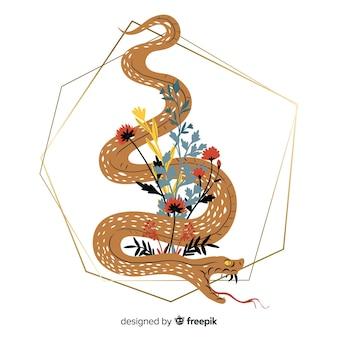 Main dessinée serpent avec fond de formes géométriques