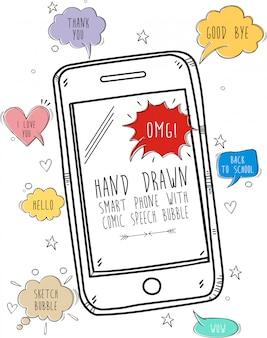 Main dessinée smart phone avec bulle de dialogue comique