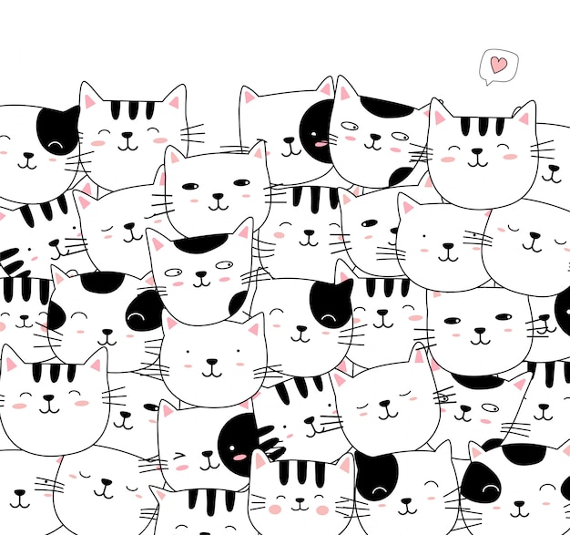 Main dessinée style animaux chat mignon blanc