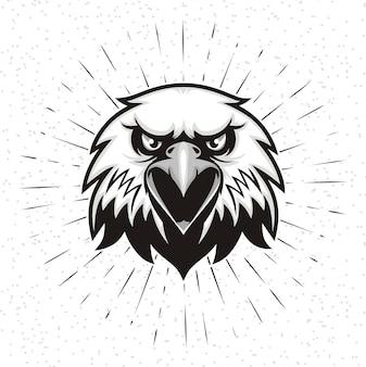Main dessinée de tête d'aigle