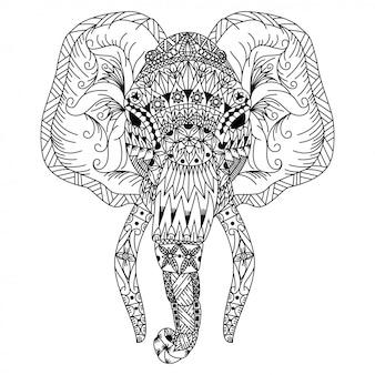 Main dessinée de tête d'éléphant dans un style zentangle